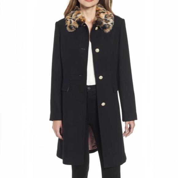 Kate Spade NY NWT Cheetah Faux Fur Collar Coat S
